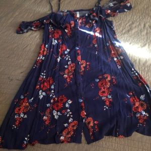 Navy dress with red florwers